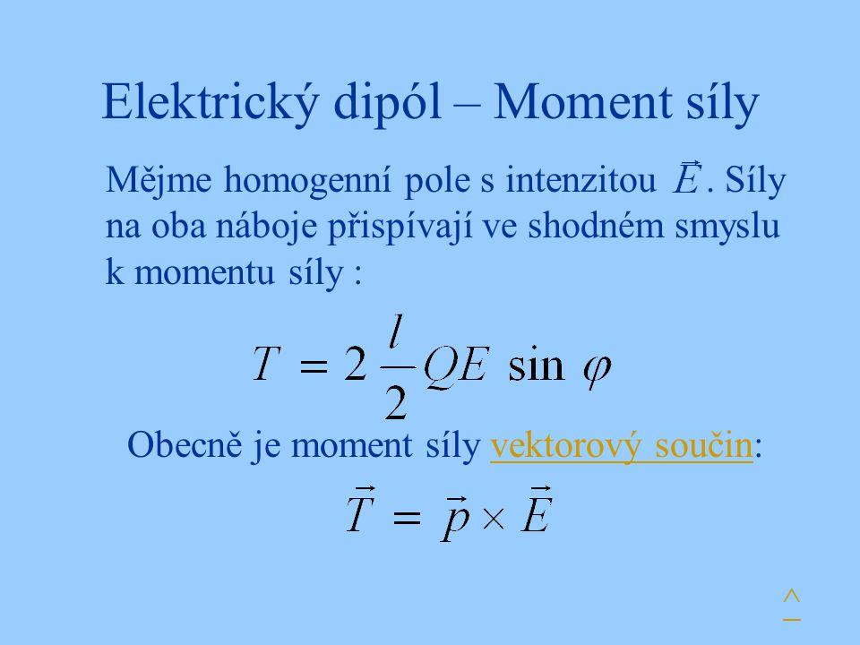 Elektrický dipól – Moment síly Mějme homogenní pole s intenzitou.