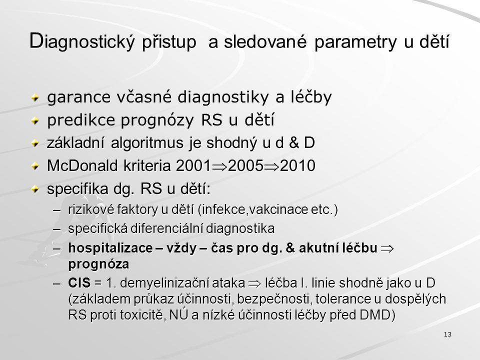 D D iagnostický přistup a sledované parametry u dětí garance včasné diagnostiky a léčby predikce prognózy RS u dětí základní algoritmus je shodný u d