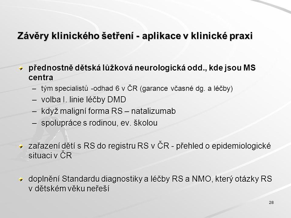 Závěry klinického šetření - aplikace v klinické praxi přednostně dětská lůžková neurologická odd., kde jsou MS centra –tým specialistů -odhad 6 v ČR (