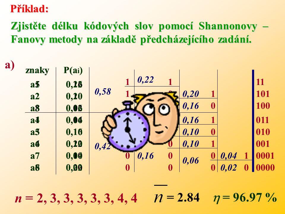 3.První skupině se přiřadí kódový znak 1 a druhé znak 0. 4.Každou podskupinu opět rozdělíme na dvě podskupiny s přibližně stejným součtem pravděpodobn