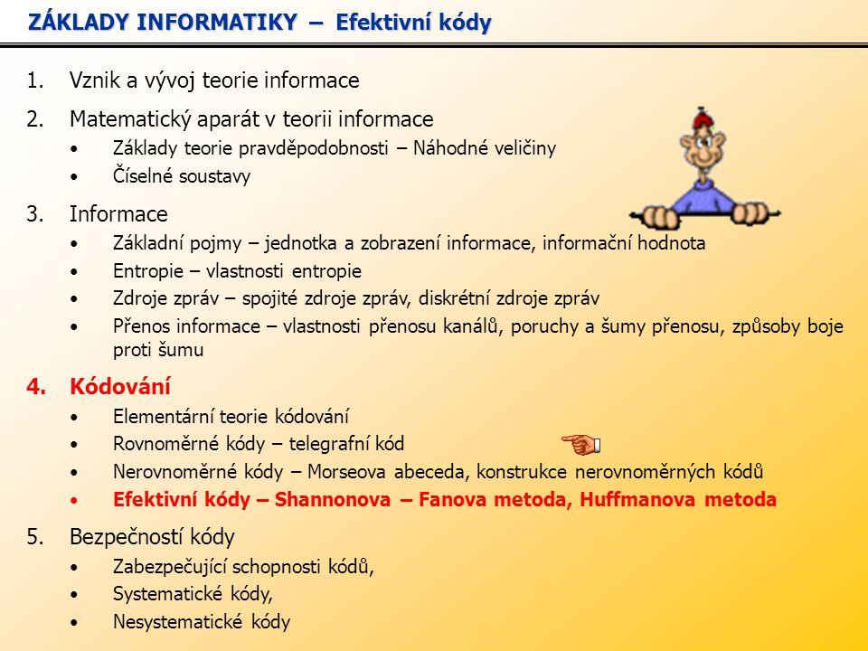 1.Vznik a vývoj teorie informace 2.Matematický aparát v teorii informace Základy teorie pravděpodobnosti – Náhodné veličiny Číselné soustavy 3.Informace Základní pojmy – jednotka a zobrazení informace, informační hodnota Entropie – vlastnosti entropie Zdroje zpráv – spojité zdroje zpráv, diskrétní zdroje zpráv Přenos informace – vlastnosti přenosu kanálů, poruchy a šumy přenosu, způsoby boje proti šumu 4.Kódování Elementární teorie kódování Rovnoměrné kódy – telegrafní kód Nerovnoměrné kódy – Morseova abeceda, konstrukce nerovnoměrných kódů Efektivní kódy – Shannonova – Fanova metoda, Huffmanova metoda 5.Bezpečností kódy Zabezpečující schopnosti kódů, Systematické kódy, Nesystematické kódy ZÁKLADY INFORMATIKY – Efektivní kódy ZÁKLADY INFORMATIKY – Efektivní kódy
