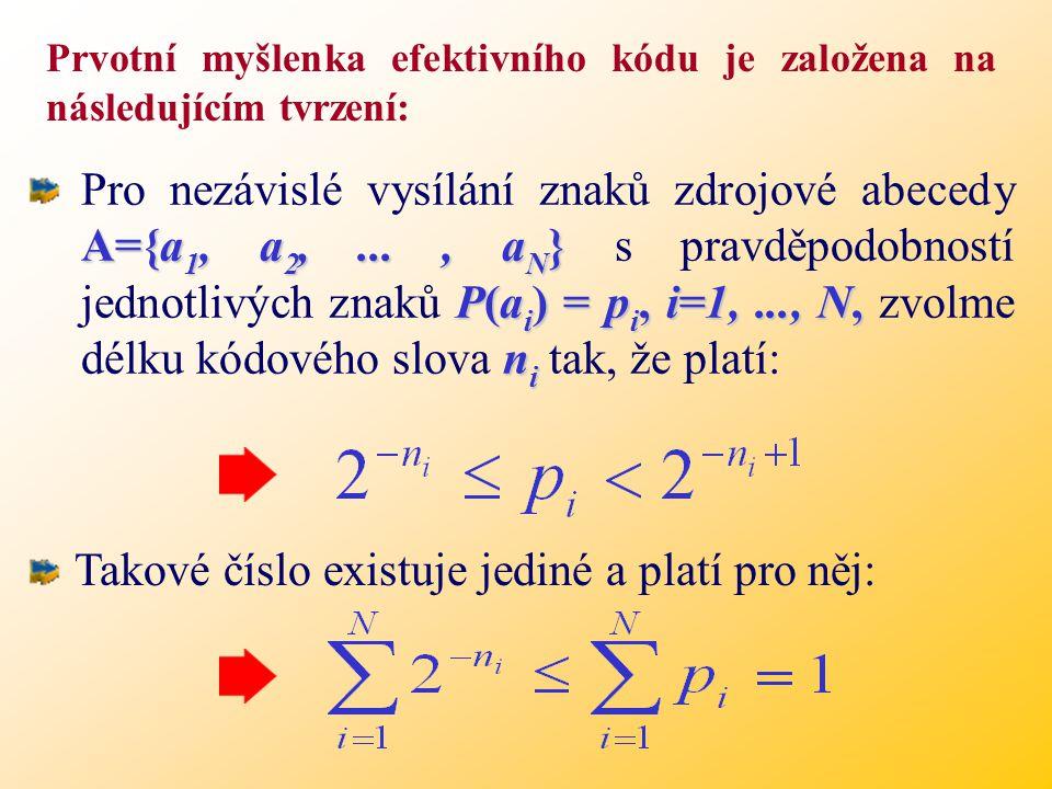 Prvotní myšlenka efektivního kódu je založena na následujícím tvrzení: A={a 1, a 2,..., a N } P(a i ) = p i, i=1,..., N, n i Pro nezávislé vysílání znaků zdrojové abecedy A={a 1, a 2,..., a N } s pravděpodobností jednotlivých znaků P(a i ) = p i, i=1,..., N, zvolme délku kódového slova n i tak, že platí: Takové číslo existuje jediné a platí pro něj:
