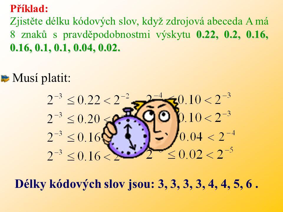 Příklad: 0.22, 0.2, 0.16, 0.16, 0.1, 0.1, 0.04, 0.02.