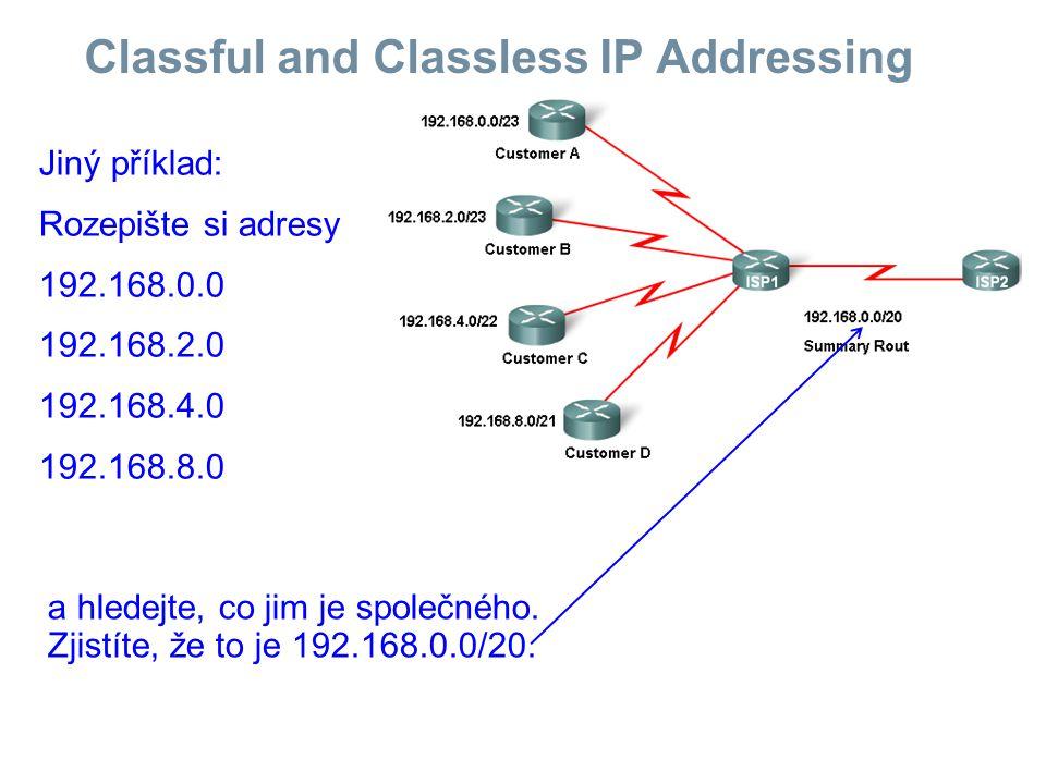 Classful and Classless IP Addressing Jiný příklad: Rozepište si adresy 192.168.0.0 192.168.2.0 192.168.4.0 192.168.8.0 a hledejte, co jim je společného.