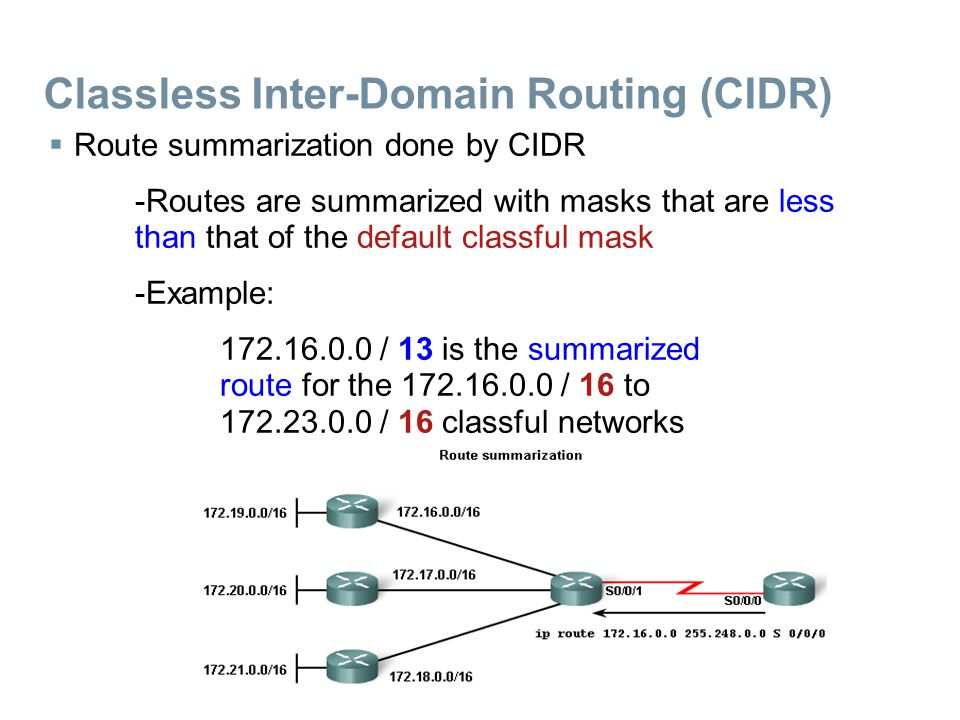 Classless Inter-Domain Routing (CIDR)  Route summarization done by CIDR -Routes are summarized with masks that are less than that of the default classful mask -Example: 172.16.0.0 / 13 is the summarized route for the 172.16.0.0 / 16 to 172.23.0.0 / 16 classful networks