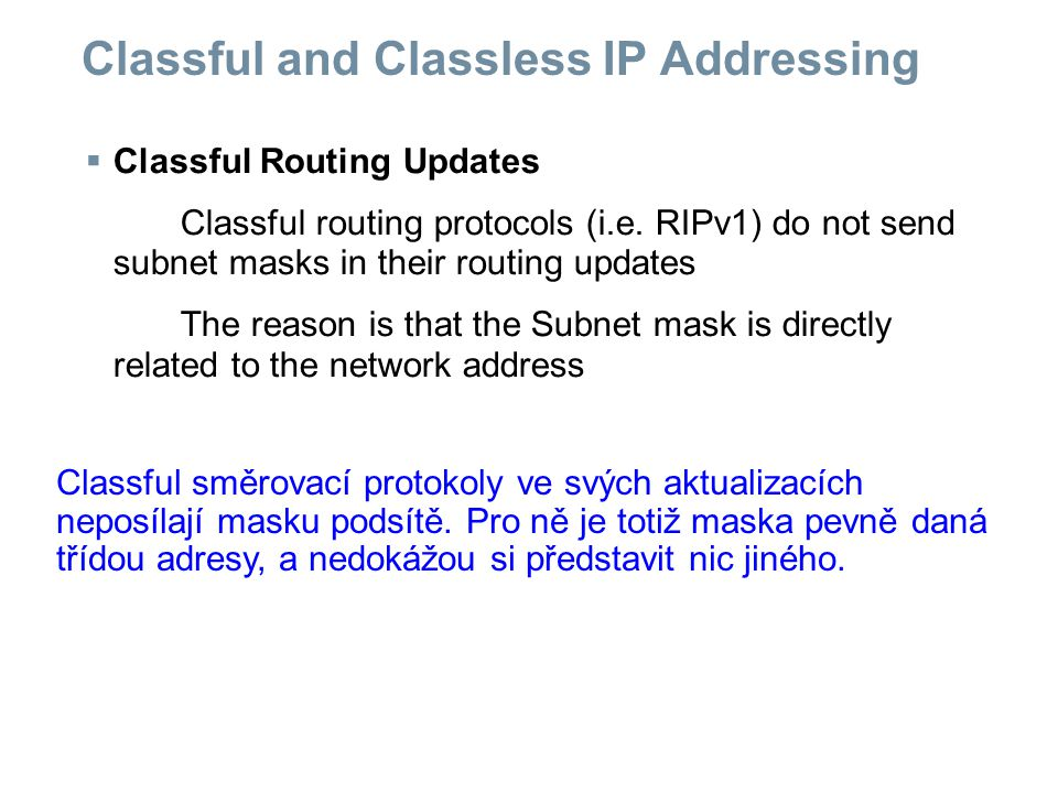 Classful and Classless IP Addressing Routing Protocol Routing updates Include subnet Mask Supports VLSM Sends Supernet routes Classful No Classless Yes  Routing Protocols