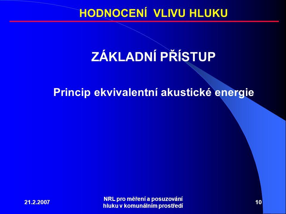 21.2.2007 NRL pro měření a posuzování hluku v komunálním prostředí 10 ZÁKLADNÍ PŘÍSTUP Princip ekvivalentní akustické energie HODNOCENÍ VLIVU HLUKU