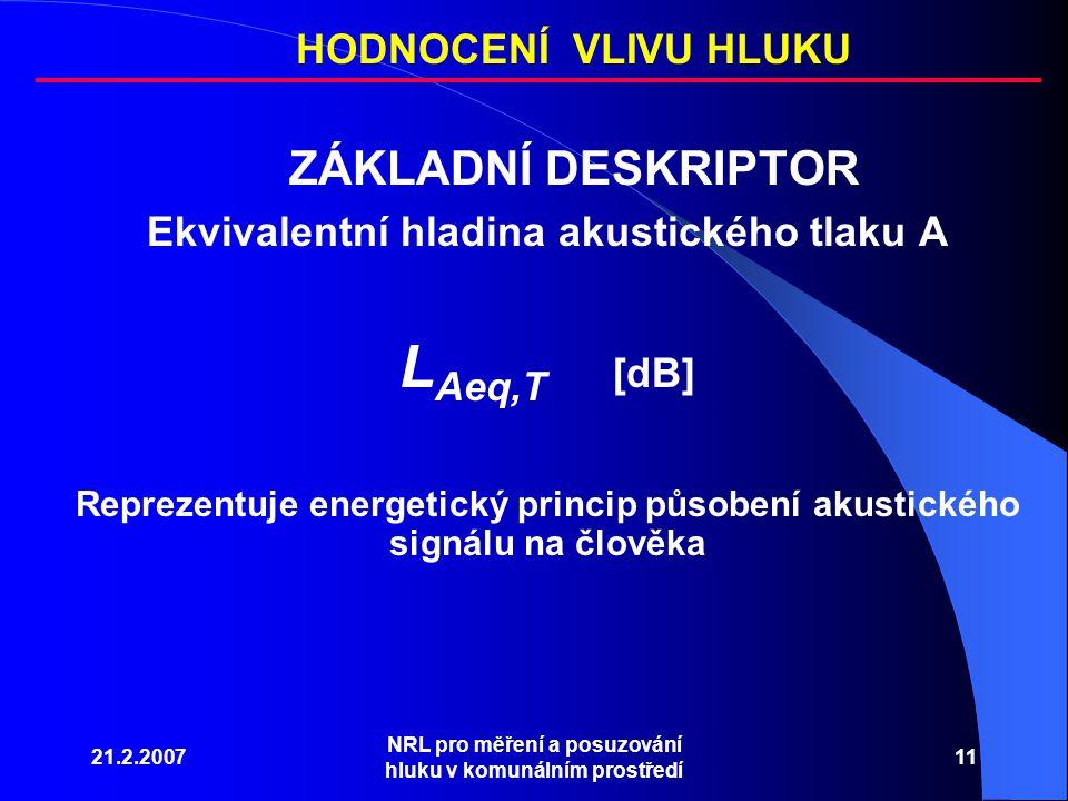21.2.2007 NRL pro měření a posuzování hluku v komunálním prostředí 11 ZÁKLADNÍ DESKRIPTOR Ekvivalentní hladina akustického tlaku A L Aeq,T [dB] HODNOCENÍ VLIVU HLUKU Reprezentuje energetický princip působení akustického signálu na člověka
