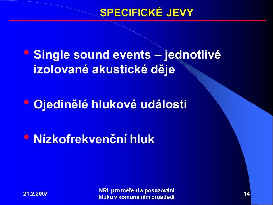 21.2.2007 NRL pro měření a posuzování hluku v komunálním prostředí 14 Single sound events – jednotlivé izolované akustické děje Ojedinělé hlukové události Nízkofrekvenční hluk SPECIFICKÉ JEVY