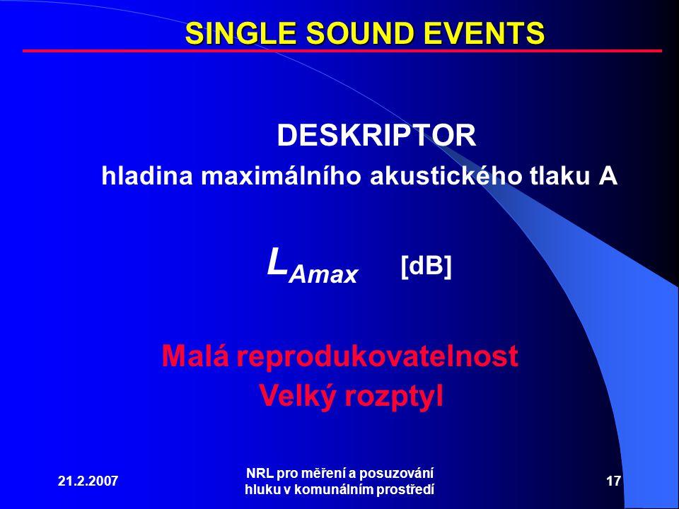 21.2.2007 NRL pro měření a posuzování hluku v komunálním prostředí 17 DESKRIPTOR hladina maximálního akustického tlaku A L Amax [dB] SINGLE SOUND EVENTS Malá reprodukovatelnost Velký rozptyl