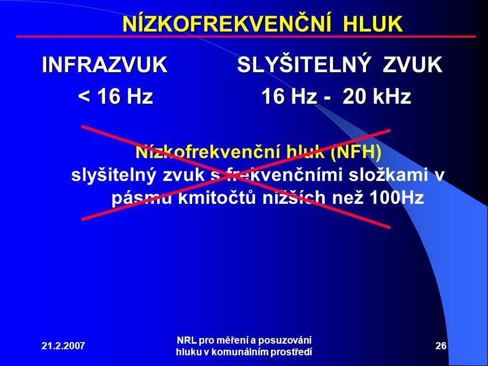 21.2.2007 NRL pro měření a posuzování hluku v komunálním prostředí 26 INFRAZVUKSLYŠITELNÝ ZVUK < 16 Hz 16 Hz - 20 kHz < 16 Hz 16 Hz - 20 kHz Nízkofrekvenční hluk (NFH) slyšitelný zvuk s frekvenčními složkami v pásmu kmitočtů nižších než 100Hz NÍZKOFREKVENČNÍ HLUK