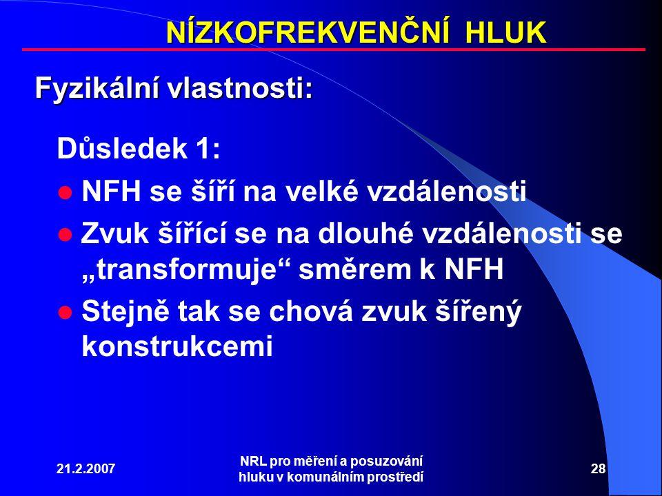 """21.2.2007 NRL pro měření a posuzování hluku v komunálním prostředí 28 NÍZKOFREKVENČNÍ HLUK Fyzikální vlastnosti: Důsledek 1: NFH se šíří na velké vzdálenosti Zvuk šířící se na dlouhé vzdálenosti se """"transformuje směrem k NFH Stejně tak se chová zvuk šířený konstrukcemi"""