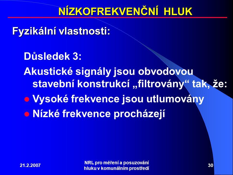 """21.2.2007 NRL pro měření a posuzování hluku v komunálním prostředí 30 NÍZKOFREKVENČNÍ HLUK Fyzikální vlastnosti: Důsledek 3: Akustické signály jsou obvodovou stavební konstrukcí """"filtrovány tak, že: Vysoké frekvence jsou utlumovány Nízké frekvence procházejí"""