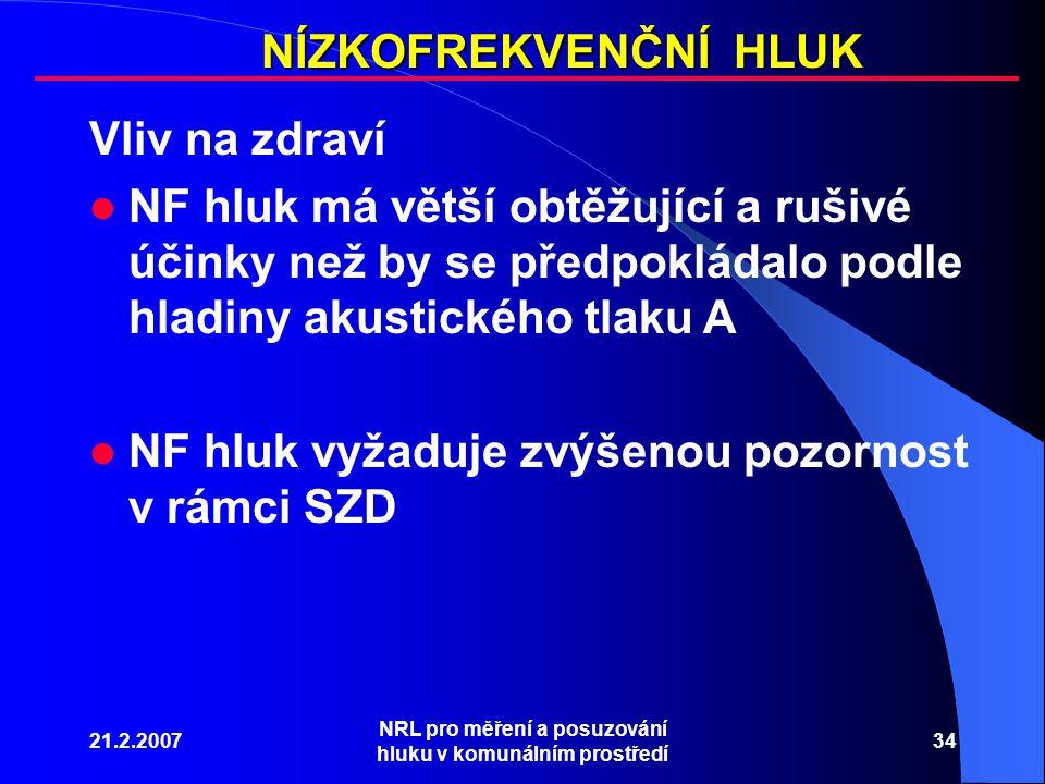 21.2.2007 NRL pro měření a posuzování hluku v komunálním prostředí 34 NÍZKOFREKVENČNÍ HLUK Vliv na zdraví NF hluk má větší obtěžující a rušivé účinky než by se předpokládalo podle hladiny akustického tlaku A NF hluk vyžaduje zvýšenou pozornost v rámci SZD