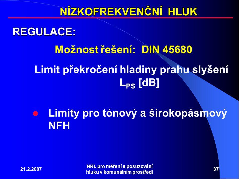 21.2.2007 NRL pro měření a posuzování hluku v komunálním prostředí 37 NÍZKOFREKVENČNÍ HLUK REGULACE: Limit překročení hladiny prahu slyšení L PS [dB] Limity pro tónový a širokopásmový NFH Možnost řešení: DIN 45680