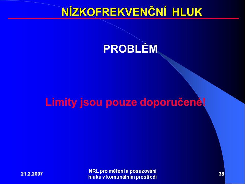 21.2.2007 NRL pro měření a posuzování hluku v komunálním prostředí 38 NÍZKOFREKVENČNÍ HLUK PROBLÉM Limity jsou pouze doporučené!
