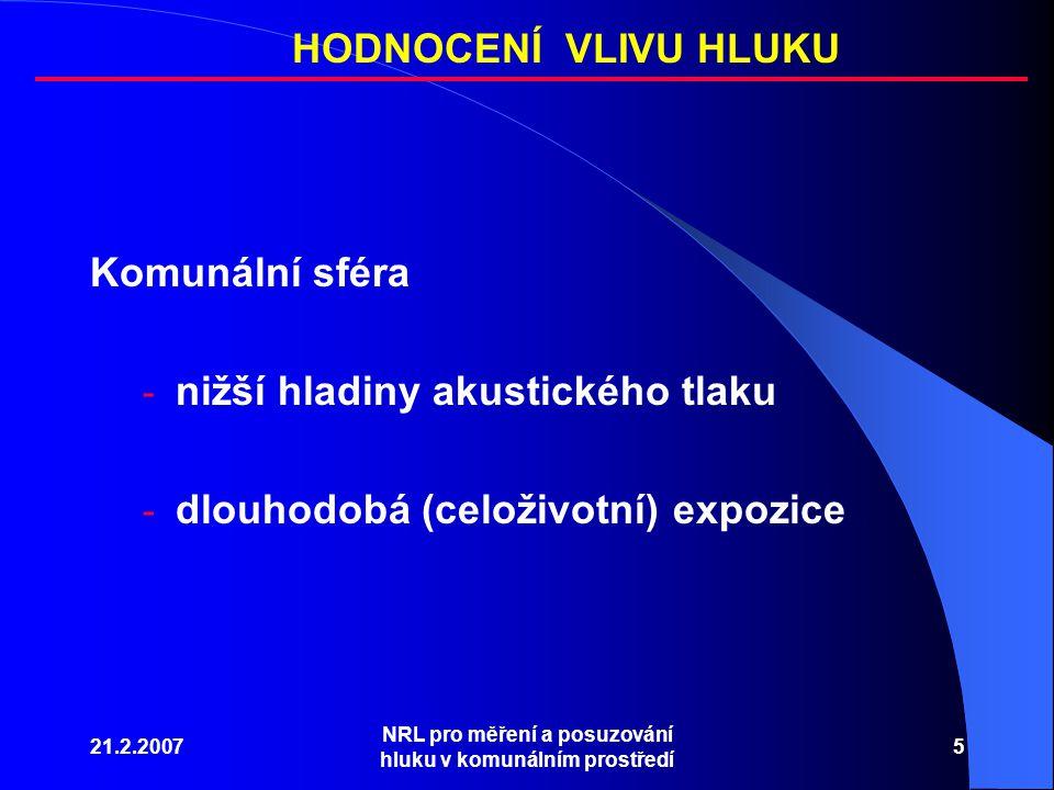 21.2.2007 NRL pro měření a posuzování hluku v komunálním prostředí 5 Komunální sféra - nižší hladiny akustického tlaku - dlouhodobá (celoživotní) expozice HODNOCENÍ VLIVU HLUKU