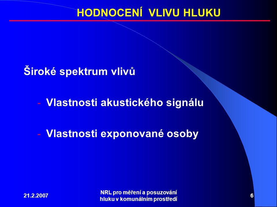 21.2.2007 NRL pro měření a posuzování hluku v komunálním prostředí 6 Široké spektrum vlivů - Vlastnosti akustického signálu - Vlastnosti exponované osoby HODNOCENÍ VLIVU HLUKU
