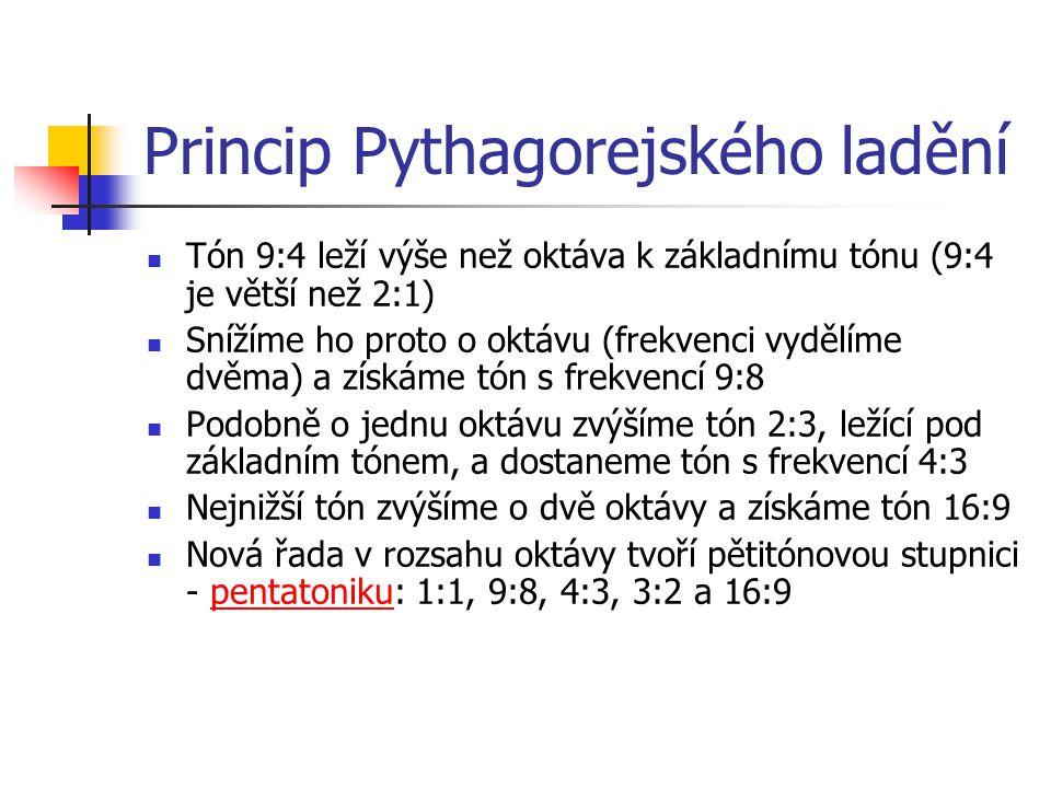 Princip Pythagorejského ladění Tón 9:4 leží výše než oktáva k základnímu tónu (9:4 je větší než 2:1) Snížíme ho proto o oktávu (frekvenci vydělíme dvě
