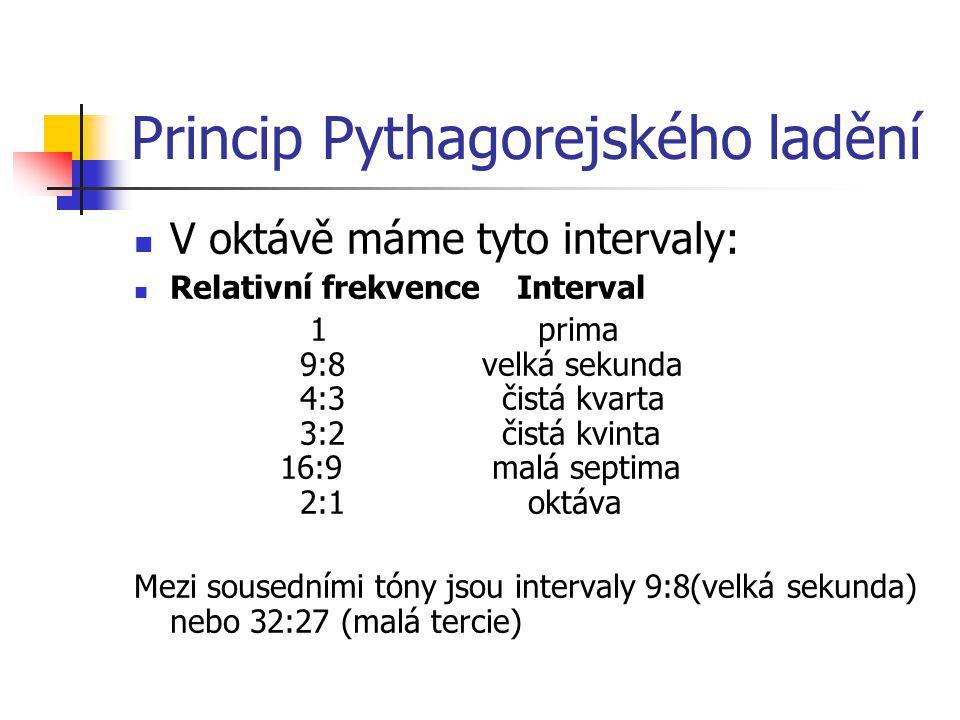 Princip Pythagorejského ladění V oktávě máme tyto intervaly: Relativní frekvence Interval 1 prima 9:8 velká sekunda 4:3 čistá kvarta 3:2 čistá kvinta
