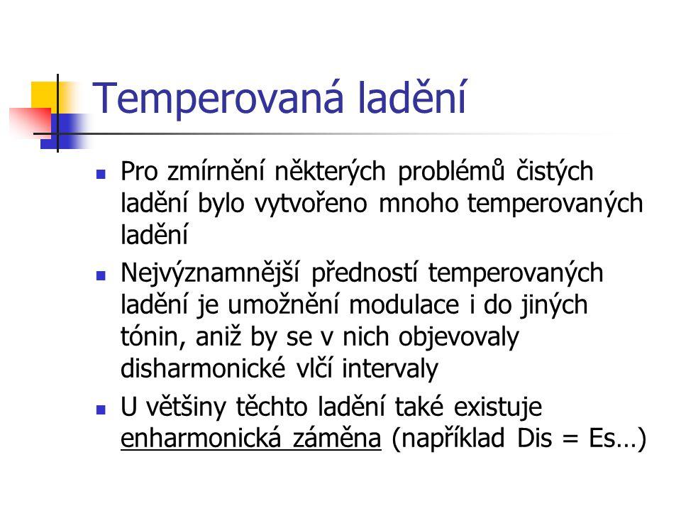 Temperovaná ladění Pro zmírnění některých problémů čistých ladění bylo vytvořeno mnoho temperovaných ladění Nejvýznamnější předností temperovaných lad
