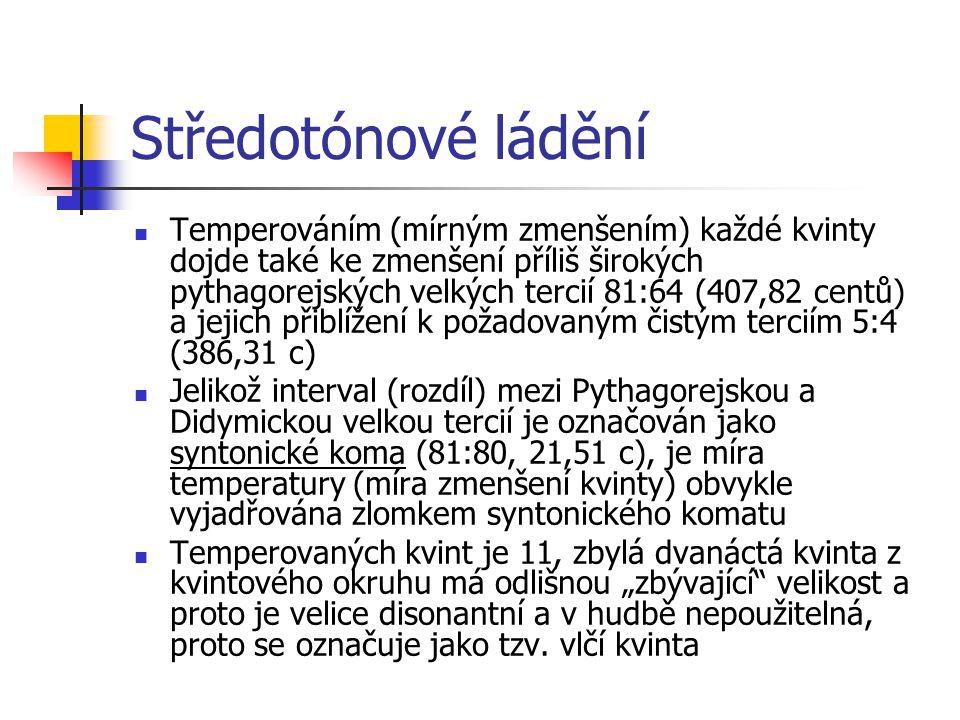 Středotónové ládění Temperováním (mírným zmenšením) každé kvinty dojde také ke zmenšení příliš širokých pythagorejských velkých tercií 81:64 (407,82 c