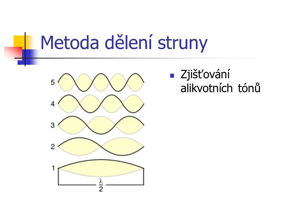 Princip Pythagorejského ladění Označení tónuRelativní frekvenceInterval D1prima E9:8velká sekunda F32:27malá tercie G4:3čistá kvarta A3:2čistá kvinta H27:16velká sexta C16:9malá septima D2:1oktáva