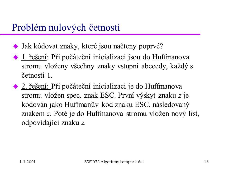 1.3.2001SWI072 Algoritmy komprese dat16 Problém nulových četností u Jak kódovat znaky, které jsou načteny poprvé.