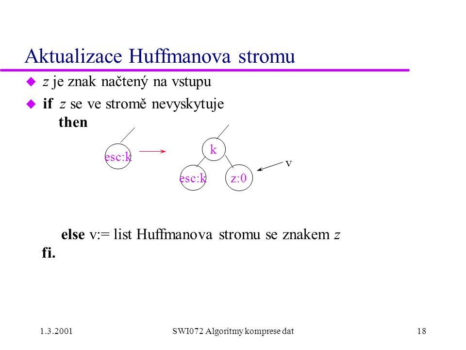 1.3.2001SWI072 Algoritmy komprese dat18 Aktualizace Huffmanova stromu u z je znak načtený na vstupu u if z se ve stromě nevyskytuje then k esc:k z:0 v esc:k else v:= list Huffmanova stromu se znakem z fi.