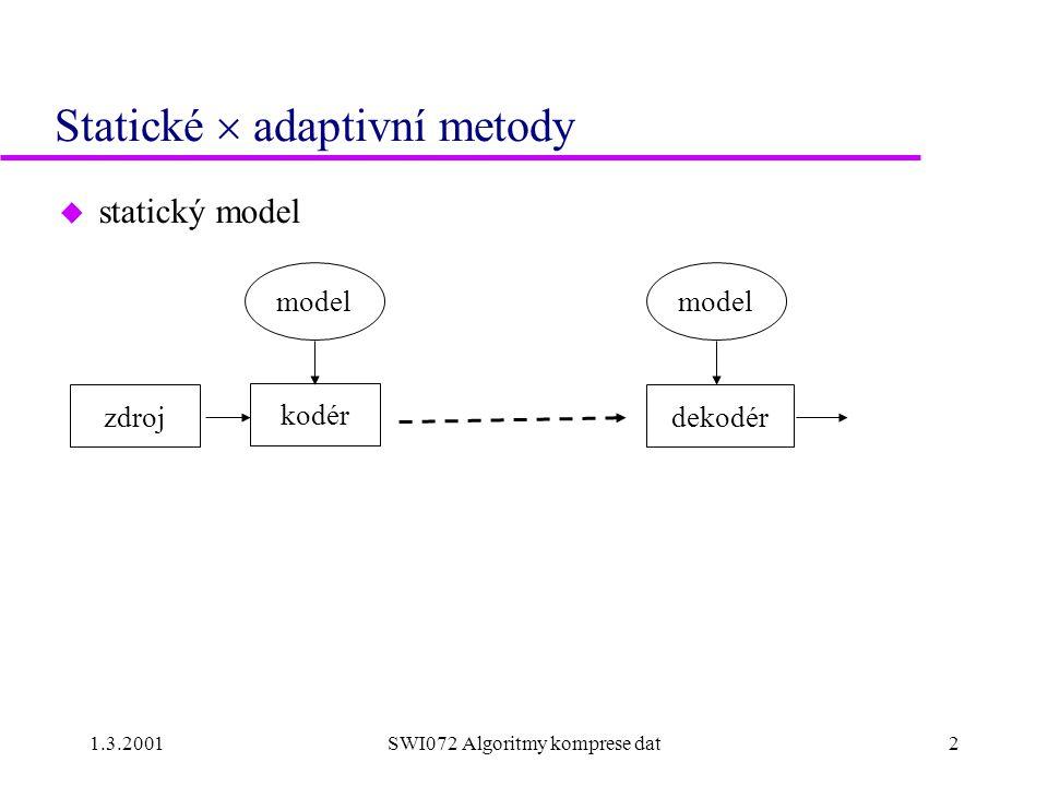 1.3.2001SWI072 Algoritmy komprese dat2 Statické  adaptivní metody u statický model model kodér dekodér model zdroj