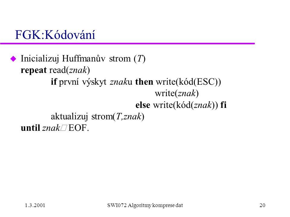 1.3.2001SWI072 Algoritmy komprese dat20 FGK:Kódování  Inicializuj Huffmanův strom (T) repeat read(znak) if první výskyt znaku then write(kód(ESC)) write(znak) else write(kód(znak)) fi aktualizuj strom(T,znak) until znak  EOF.