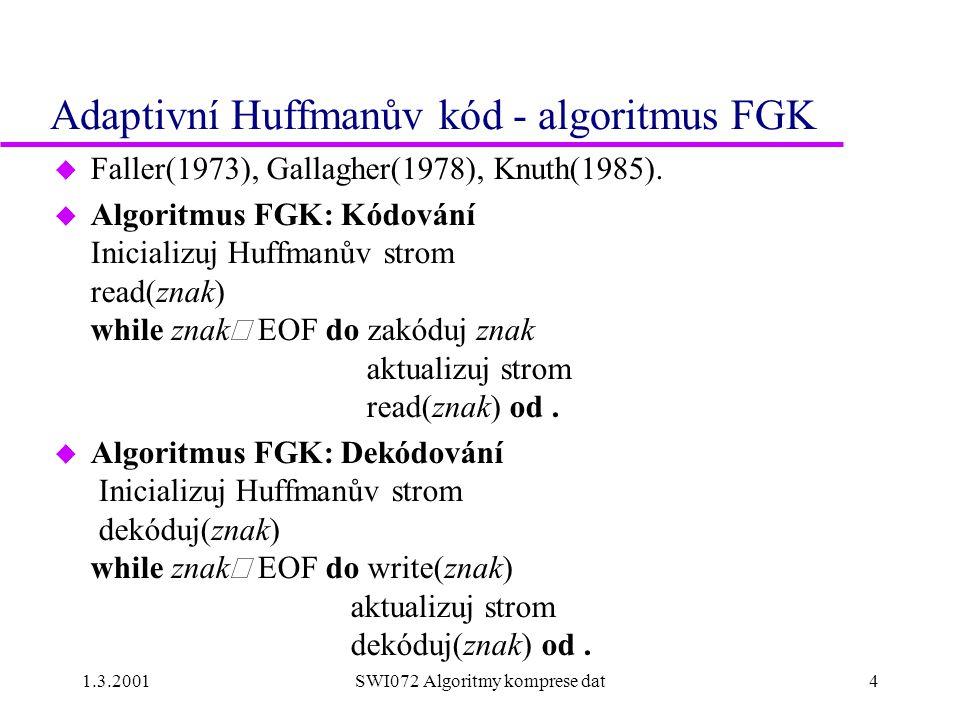 1.3.2001SWI072 Algoritmy komprese dat4 Adaptivní Huffmanův kód - algoritmus FGK u Faller(1973), Gallagher(1978), Knuth(1985).