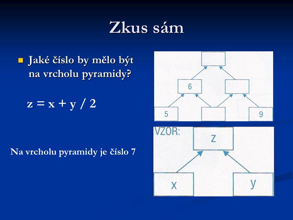 Zkus sám Jaké číslo by mělo být na vrcholu pyramidy? Jaké číslo by mělo být na vrcholu pyramidy? z = x + y / 2 Na vrcholu pyramidy je číslo 7