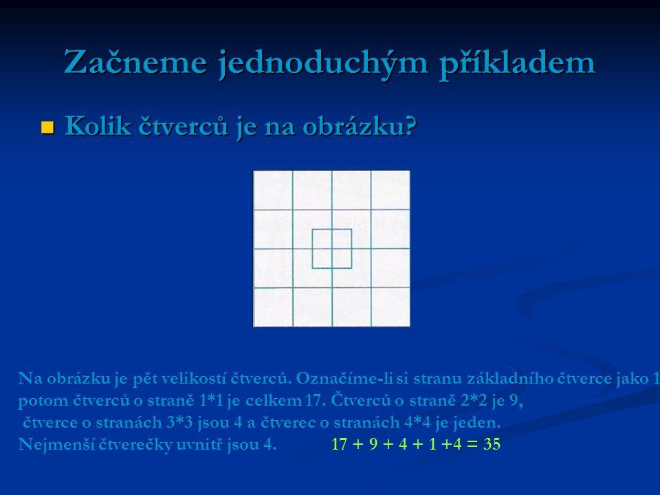 Začneme jednoduchým příkladem Kolik čtverců je na obrázku? Kolik čtverců je na obrázku? Na obrázku je pět velikostí čtverců. Označíme-li si stranu zák