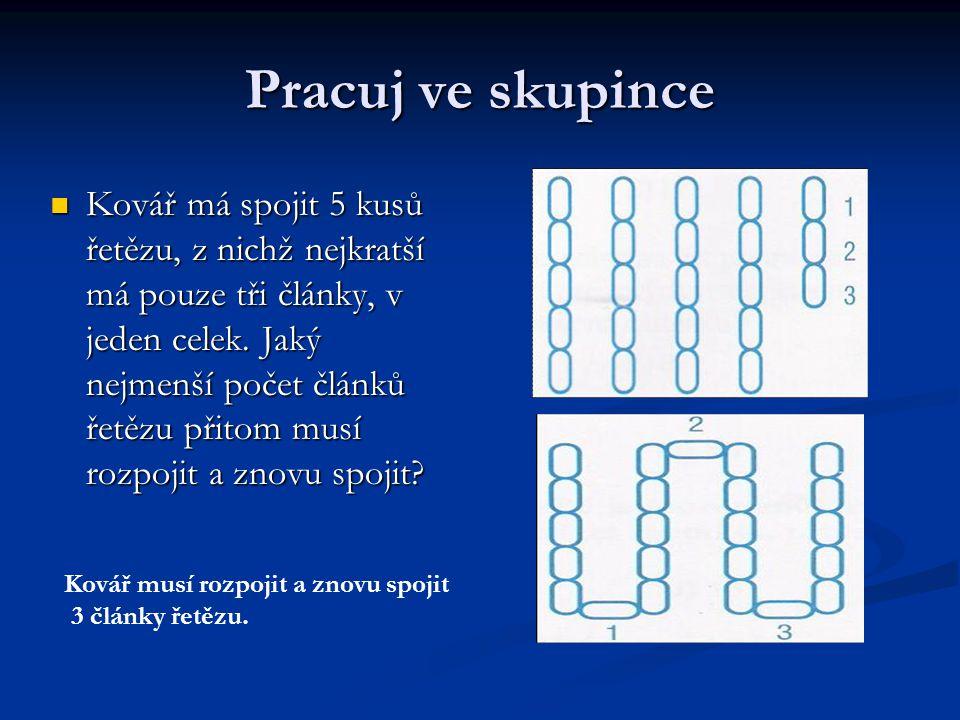 Pracuj ve skupince Kovář má spojit 5 kusů řetězu, z nichž nejkratší má pouze tři články, v jeden celek. Jaký nejmenší počet článků řetězu přitom musí