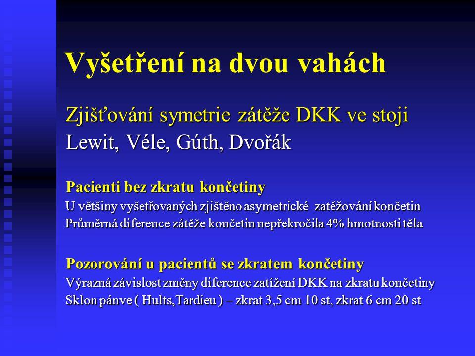 Vyšetření na dvou vahách Zjišťování symetrie zátěže DKK ve stoji Lewit, Véle, Gúth, Dvořák Pacienti bez zkratu končetiny U většiny vyšetřovaných zjišt