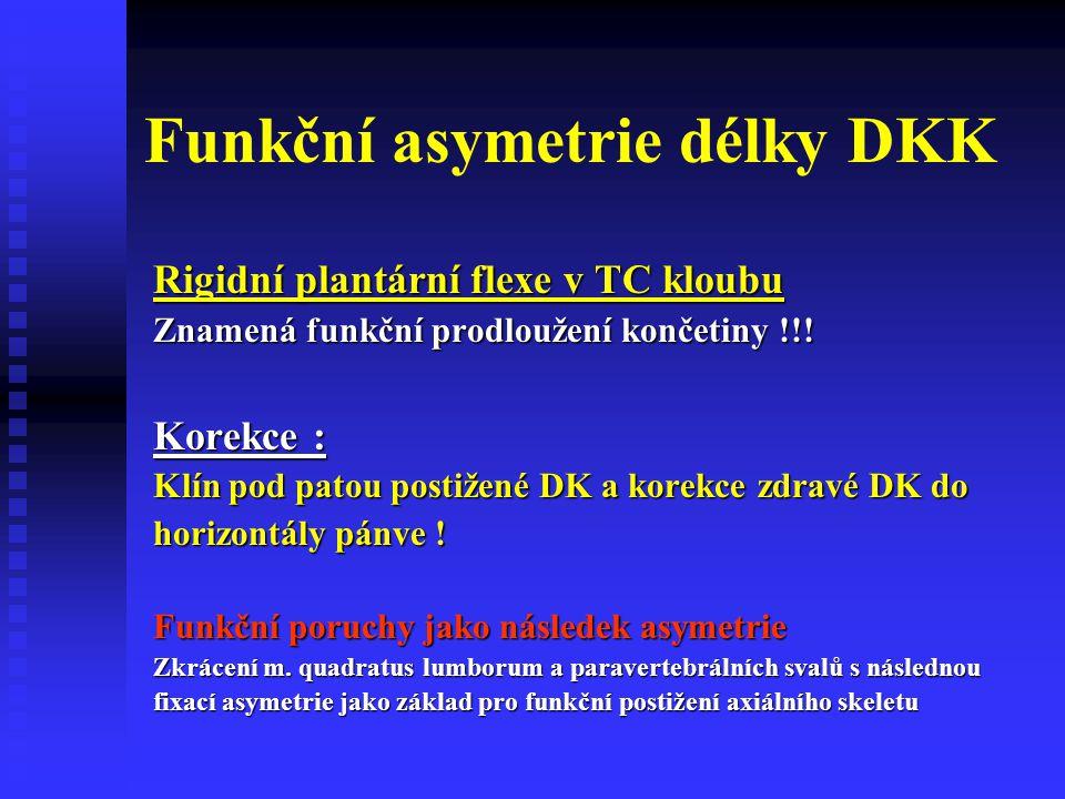 Funkční asymetrie délky DKK Rigidní plantární flexe v TC kloubu Znamená funkční prodloužení končetiny !!! Korekce : Klín pod patou postižené DK a kore