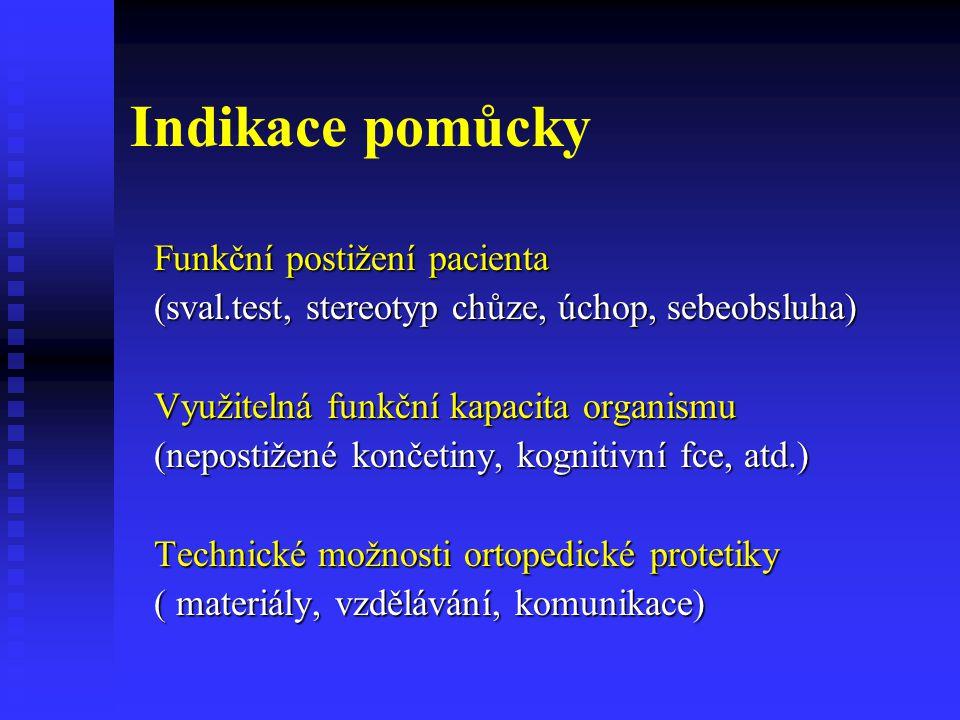 Indikace pomůcky Funkční postižení pacienta (sval.test, stereotyp chůze, úchop, sebeobsluha) Využitelná funkční kapacita organismu (nepostižené končet