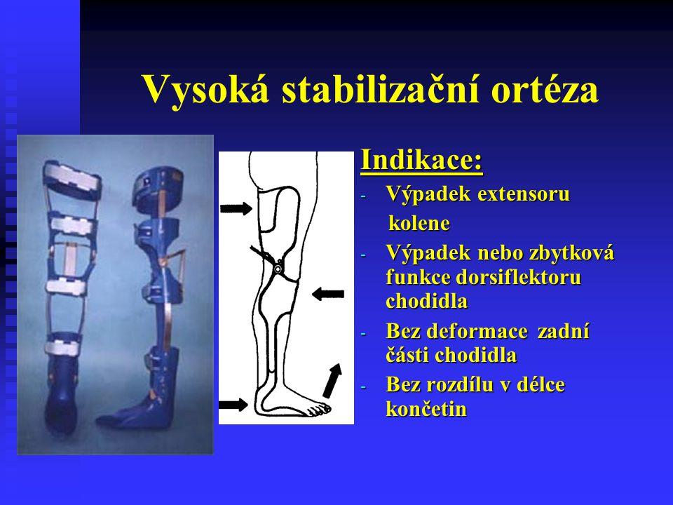 Vysoká stabilizační ortéza Indikace: - Výpadek extensoru kolene - Výpadek nebo zbytková funkce dorsiflektoru chodidla - Bez deformace zadní části chod