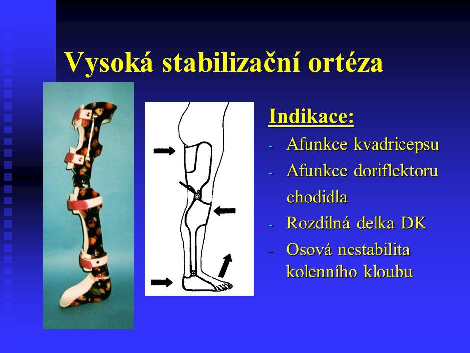 Vysoká stabilizační ortéza Indikace: - Afunkce kvadricepsu - Afunkce doriflektoru chodidla - Rozdílná delka DK - Osová nestabilita kolenního kloubu
