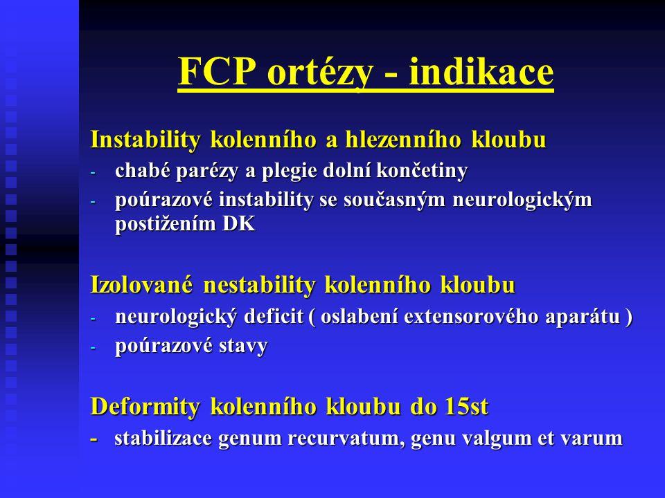 FCP ortézy - indikace Instability kolenního a hlezenního kloubu - chabé parézy a plegie dolní končetiny - poúrazové instability se současným neurologi