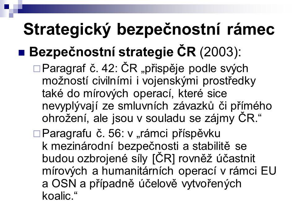 """Strategický bezpečnostní rámec Bezpečnostní strategie ČR (2003):  Paragraf č. 42: ČR """"přispěje podle svých možností civilními i vojenskými prostředky"""