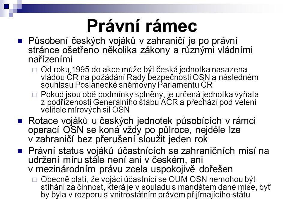 Právní rámec Působení českých vojáků v zahraničí je po právní stránce ošetřeno několika zákony a různými vládními nařízeními  Od roku 1995 do akce mů