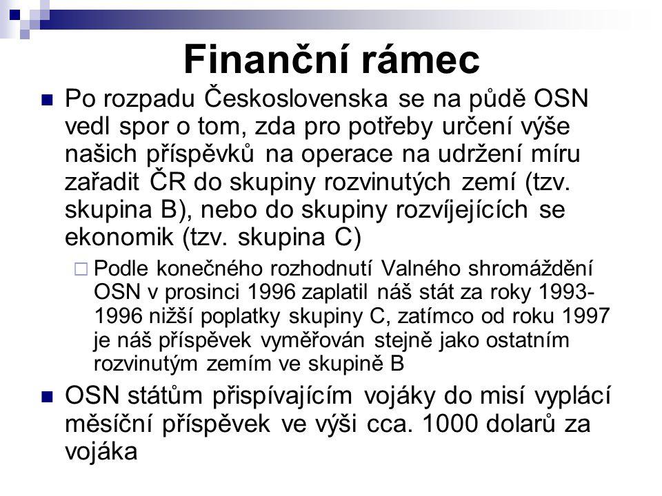 Finanční rámec Po rozpadu Československa se na půdě OSN vedl spor o tom, zda pro potřeby určení výše našich příspěvků na operace na udržení míru zařad