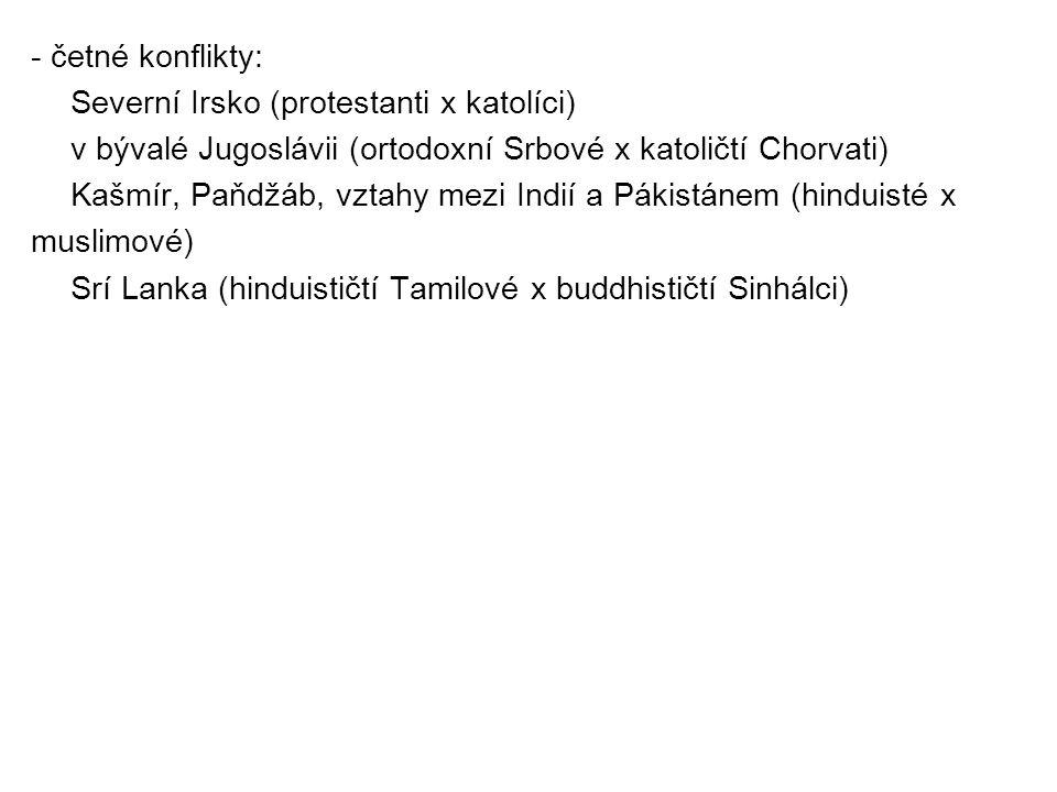 - četné konflikty: Severní Irsko (protestanti x katolíci) v bývalé Jugoslávii (ortodoxní Srbové x katoličtí Chorvati) Kašmír, Paňdžáb, vztahy mezi Indií a Pákistánem (hinduisté x muslimové) Srí Lanka (hinduističtí Tamilové x buddhističtí Sinhálci)
