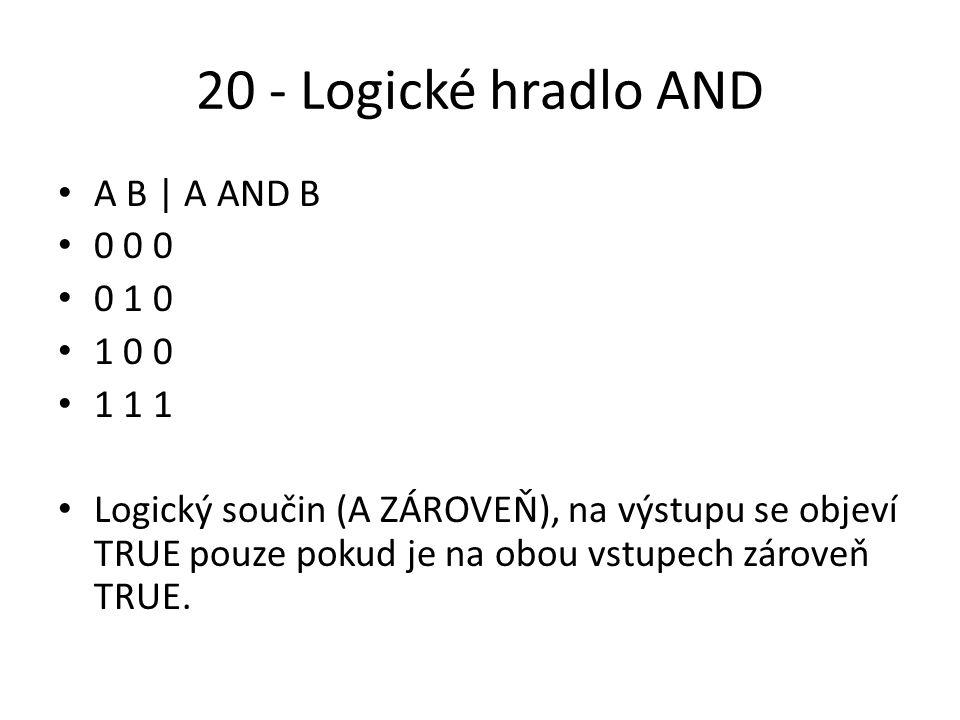20 - Logické hradlo AND A B | A AND B 0 0 0 0 1 0 1 0 0 1 1 1 Logický součin (A ZÁROVEŇ), na výstupu se objeví TRUE pouze pokud je na obou vstupech zároveň TRUE.