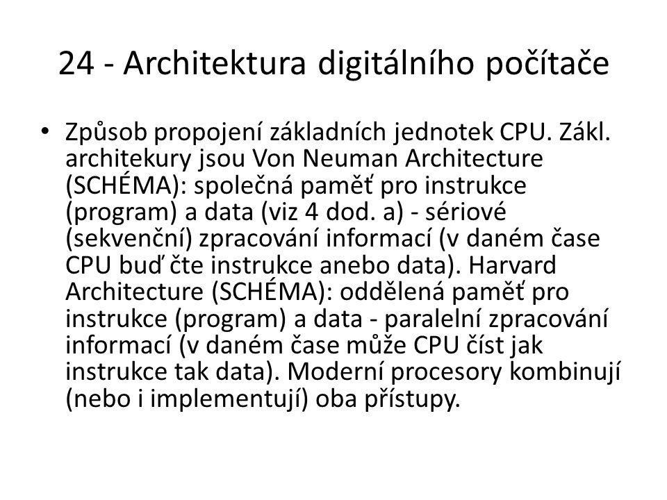 24 - Architektura digitálního počítače Způsob propojení základních jednotek CPU.