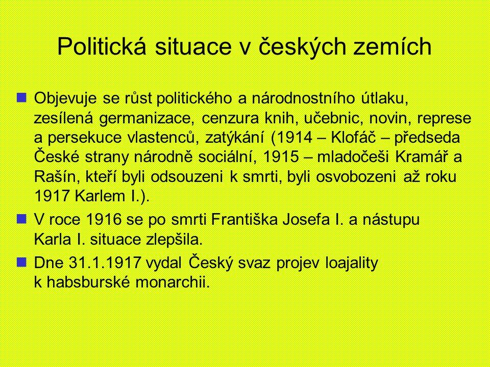 Politická situace v českých zemích Objevuje se růst politického a národnostního útlaku, zesílená germanizace, cenzura knih, učebnic, novin, represe a