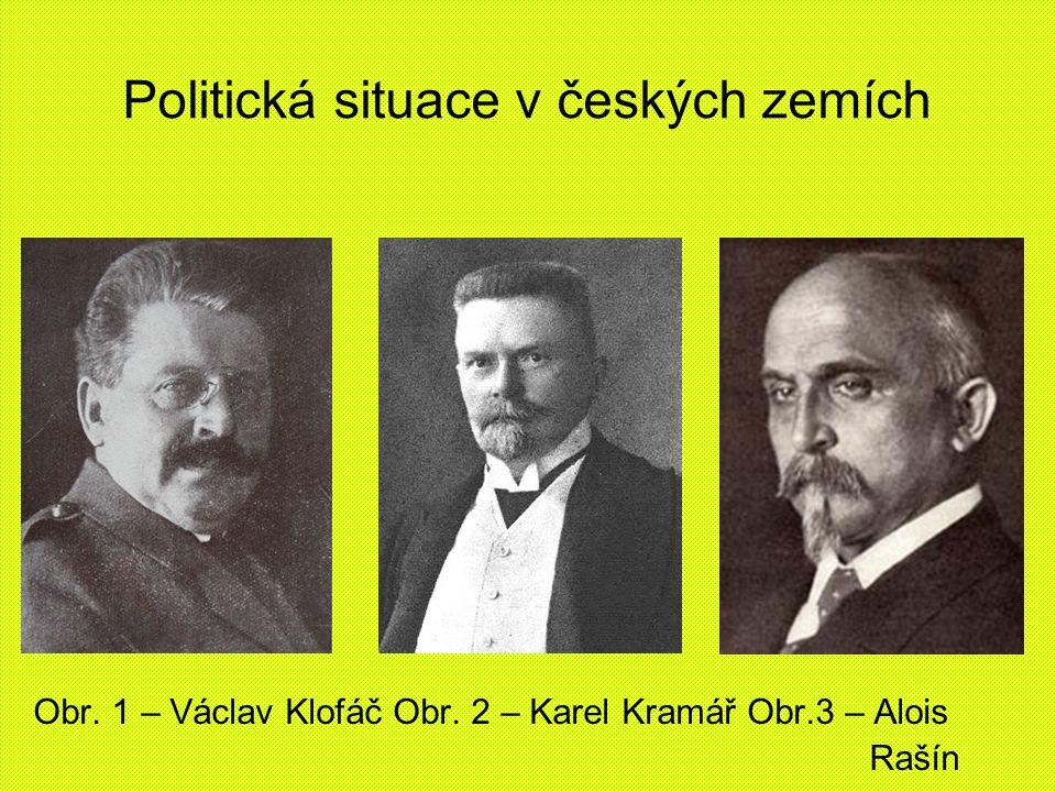 Politická situace v českých zemích Obr. 1 – Václav Klofáč Obr. 2 – Karel Kramář Obr.3 – Alois Rašín