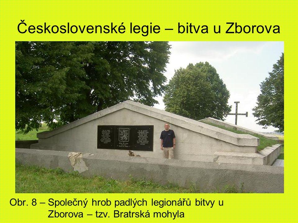 Československé legie – bitva u Zborova Obr. 8 – Společný hrob padlých legionářů bitvy u Zborova – tzv. Bratrská mohyla